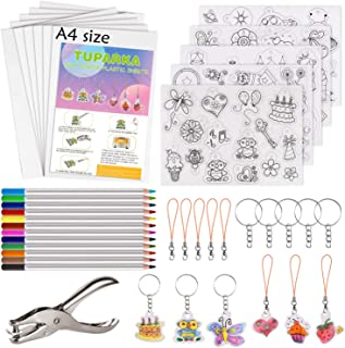 TUPARKA 60 Pcs Heat Shrink Plastic Sheet Kit,Heat Shrinky Sheets Creative Pack,Including 10Pcs Blank Shrink Film Paper and 5 Pcs Shrinky Art Paper with Pattern,Hole Punch,Keychains,Pencils for Kids