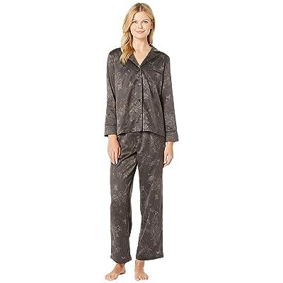 LAUREN Ralph Lauren Tonal Satin Notch Collar Pajama Set (Black) Women