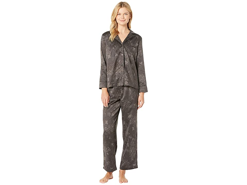 LAUREN Ralph Lauren Tonal Satin Notch Collar Pajama Set (Black) Women