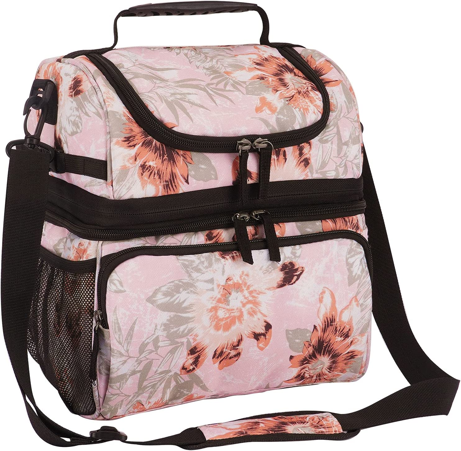 VENLING Insulated Lunch Bag for Women Men Expandable Dual Compartment Lunch Cooler Bag with Shoulder Strap Cooling Lunch Tote Floral Double Deck Lunch Box Womens Leakproof Reusable Lunch Pail, Pink