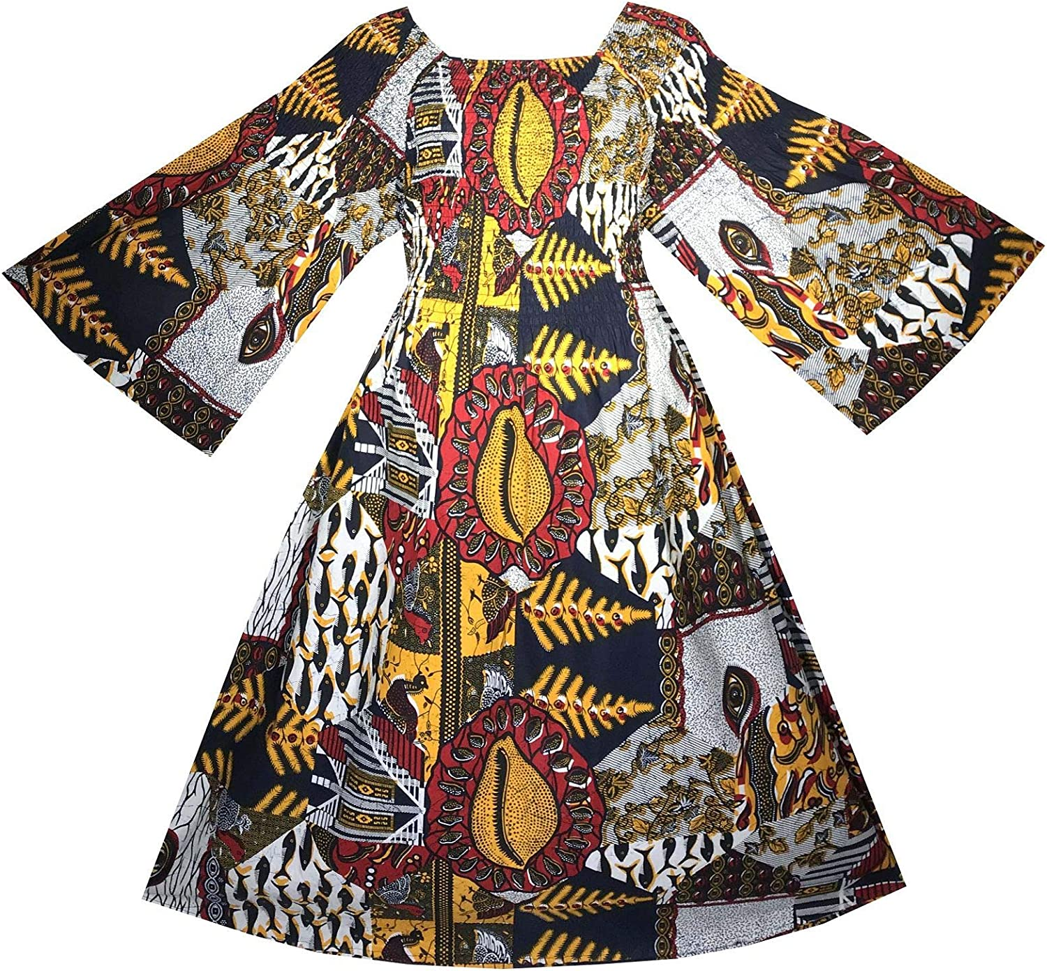 Decoraapparel Women Maxi Wax Dress African Traditional Fabric Ankara Dashiki Kent Caftan orange