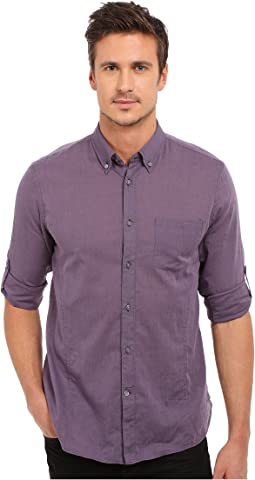 John Varvatos Star U.S.A. Roll Up Sleeve Shirt w/ Button-Down Collar Single Pocket