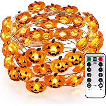 Brizled Pumpkin Halloween String Lights, 40 LED 13.12ft 8 Modes Battery Powered Fairy Lights with Remote & Timer, Flexible Copper Wire Jack-O-Lantern Lights for Halloween Party Decorations, Warm White