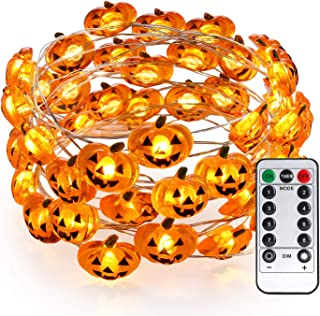 Brizled Pumpkin Halloween String Lights, 40 LED 13.12ft 8 Modes Battery Powered Fairy Lights with Remote & Timer, Flexible...