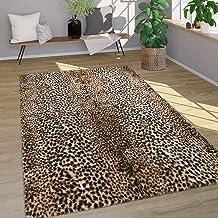 Hoogpolig vloerkleed dierenvacht kunstvacht luipaardpatroon zacht wasbaar bruin, Maat:Ø 80 cm rondje