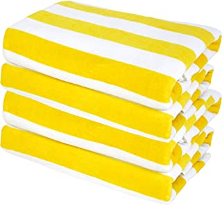 "Exclusivo Mezcla 4 Pack 100% Cotton Cabana Yellow Striped Beach/Pool/Bath Towel(30"" x 60"")—Soft, Quick Dry, Lightweight, A..."