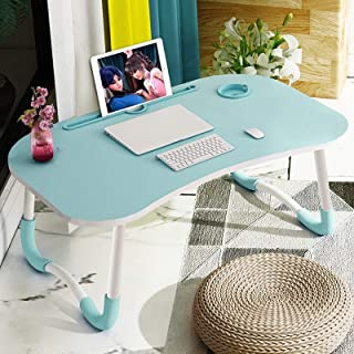 BZN Foldable Non-slip Laptop Desk Table Stand with Card Slot & Cup Slot (Color : Sky Blue)