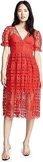 Self Portrait Women's Red Lace Midi Dress