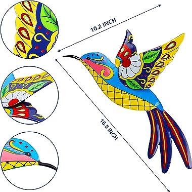 Juegoal 2 Pack Metal Hummingbird Wall Art, 16.5 Inch Bright Color Inspirational Wall Decor Colorful Birds Sculpture, Hanging