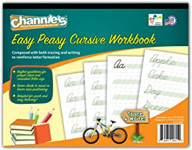 """Channie's Easy Peasy Cursive Tracing & Writing Practice Workbook, 80 Pages Front & Back, 40 Sheets, Grades 1st – 3rd, Size 8.5"""" x 11"""""""