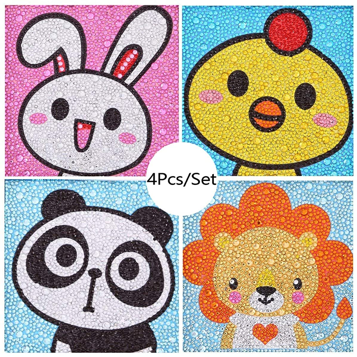 VV&BAOZI Pack of 4 Pieces DIY Special Shaped Diamond Painting Kits for Kids Cartoon Paint by Numbers(Canvas Size 6''×6'')