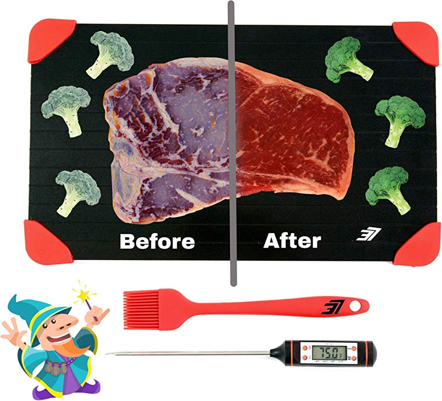 Defrosting Wizard Defrosting Tray LARGEST SIZE Red Bonus Meat Thermometer Silicone Brush Rapid Thawing Plate Superior Quality Quickly Defrost Frozen Foods Without Microwave Chemicals Hot Water