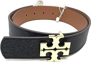 Tory Burch Women's Reversible Logo Saffiano Leather Belt, Black/Classic Tan