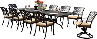 Darlee 201630-11PC-30LE Ocean View Cast Aluminum 11 Piece Rectangle Extension Dining Set and Seat Cushions, 42