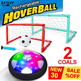Kids Toys Hover Soccer Ball USB Rechargeable Air Soccer with 2 Goals Indoor Outdoor Soccer Ball with LED Light Foam Bumper Back to School Supplies Classroom for Boys Girls Toddler Age 3-15 Year Old