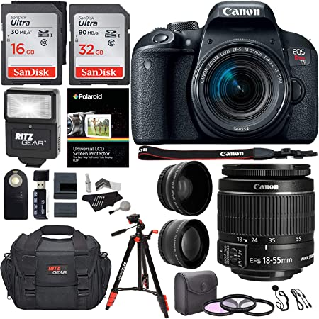 """Canon EOS Rebel T7i 24.2 MP DSLR Camera, 18-55mm f/3.5-5.6 STM Lens, RitzGear HD .43x Wide Angle & 2.2X Telephoto Lenses, 48 GB SDHC Memory + 48"""" Tripod, 58mm Filter Kit, Bag and Accessory Bundle"""
