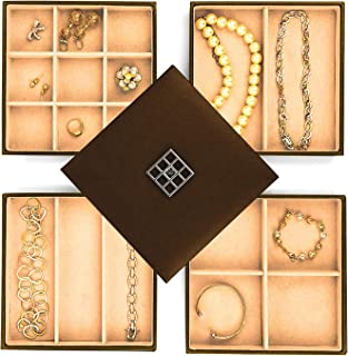 Jewelry Trays for Drawers, Stackable Jewelry Trays for Earring Necklace Jewelry Storage, Jewelry Organizer for Women, Faux Leather Exterior, Soft Felt Interior, Set of 4 with Lid, Bronze