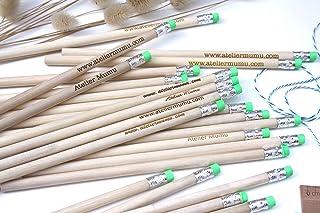Matita con testo personalizzato, gruppo x50 matite, regalo di nozze per gli ospiti, gomma di colore verde, per matrimonio