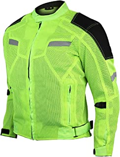 Mens Mesh Textile Sporty Cruiser Neon Green jacket with CE Armors & Back protector Pad (4XL)