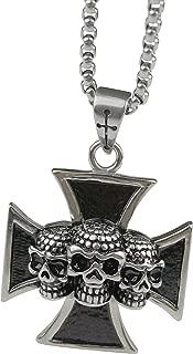 Stainless Steel Gothic Biker Pendant Necklace Men Vintage Punk