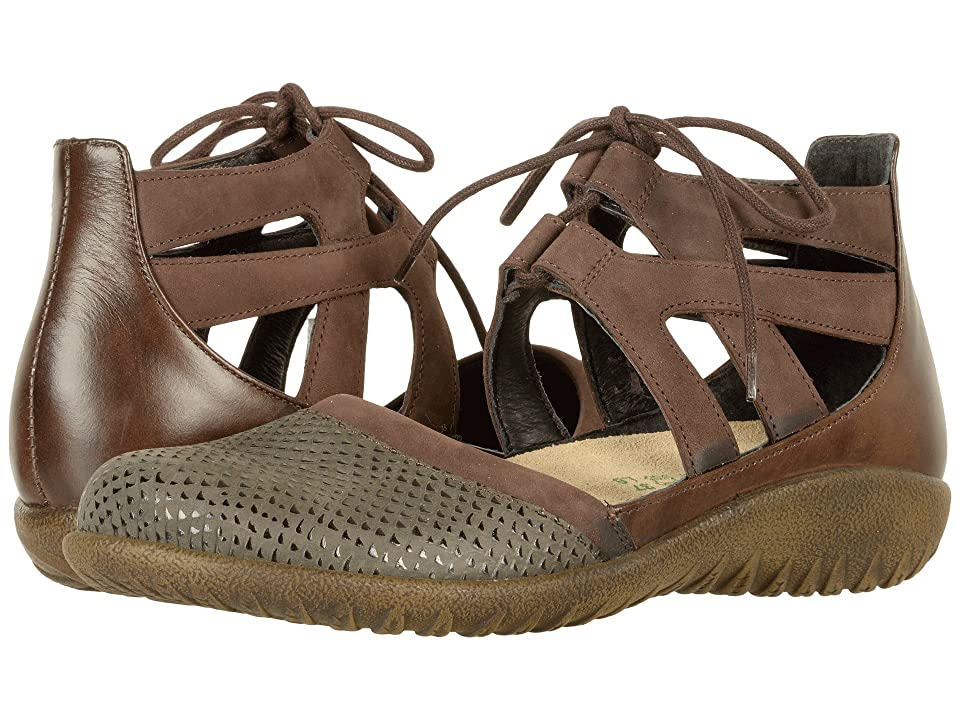 Naot Kata (Brown Croc Leather/Coffee Bean Nubuck/Pecan Brown Leather) Women's Shoes, Tan