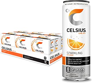 CELSIUS Sparkling Orange Fitness Drink, Zero Sugar, Slim Can 4-Packs, 12 Fl Oz (Pack of 24)