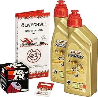 Castrol 10W 40 Öl + K&N Ölfilter für Honda NX 650 Dominator, 88 00, RD02 RD08   Ölwechselset inkl. Motoröl, Filter, Dichtring