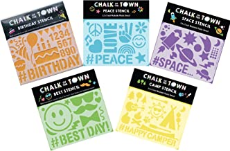 product image for Chalk of the Town Pack of 5 Plastic Stencils Set: Peace, Happy Camper, Best Day Emoji, Space & Birthday