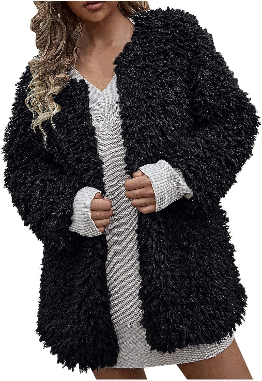 Women's Warm Winter Fleece Fuzzy Faux Fur Jacket Long Sleeve Casual Solid Slim Sherpa Coat Open Front Cardigan Outwear (Black, L)