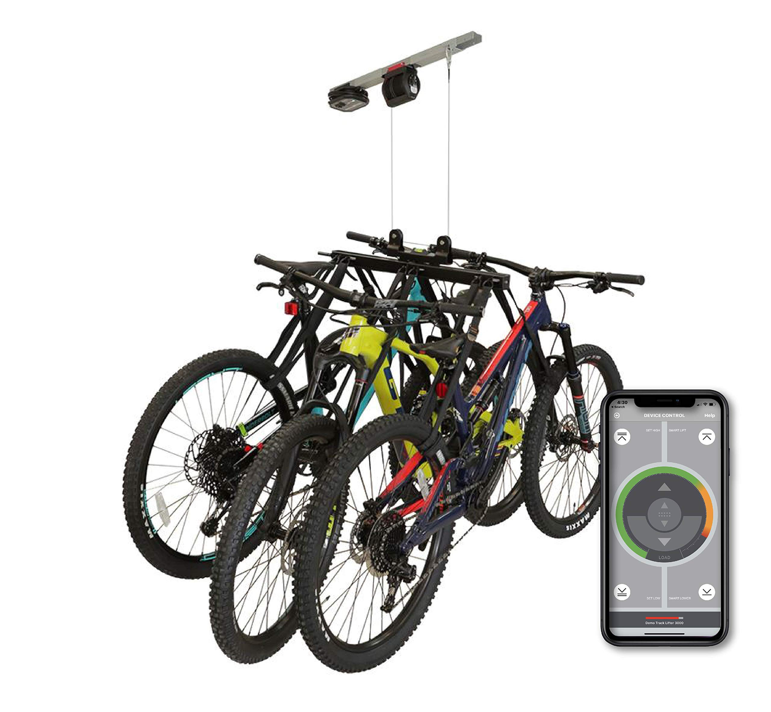 Garage Smart - Elevador multibicicleta motorizado, levanta 1,2 o 3 bicicletas hasta 100 libras, compatible con iOS y Android.: Amazon.es: Hogar