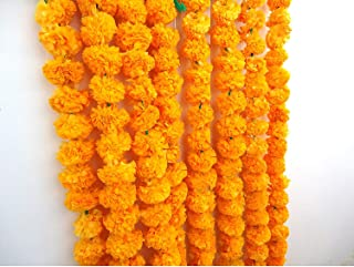TiedRibbons Artificial Marigold Flowers String (Pack of 5) - Flower Garlands for Indian Wedding Party House Warming and Di...