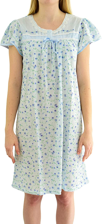 EZI Women's Cap Sleeve Floral Nightgown