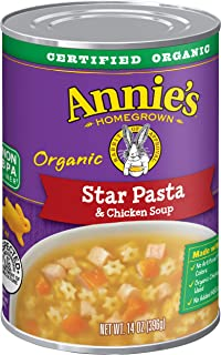 Annie's Star Pasta and Chicken Soup, Certified Organic, Non-GMO, 14 oz can (Pack of 8)