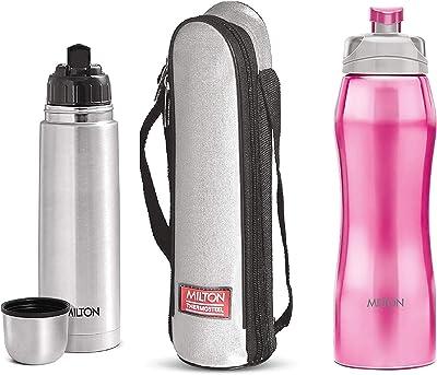 Milton Thermosteel Flip Lid Flask, 500 millilitres, Silver & Hawk 750 Stainless Steel Bottle, 750ml, Pink Combo