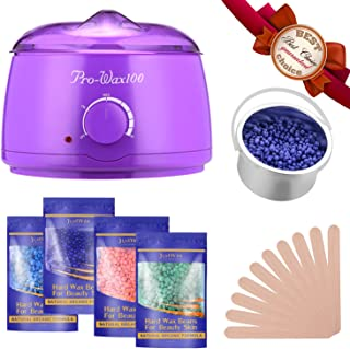 FITNATE Wax Warmer Hair Removal Waxing Kit With 4x100g Flavors Hard Wax Beans and 10 Wax Applicator Sticks for Legs, Face, Body, Bikini Area, Stylish Electric 160℉ - 240℉ Heater Control