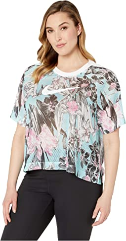 Plus Size Sportswear Hyper Femme Top Short Sleeve All Over Print
