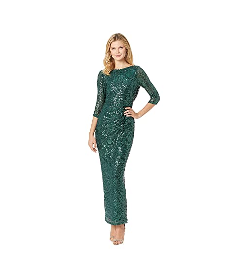 MARINA 3/4 Sleeve Sequined Gown W/ Cowl Back, Emerald