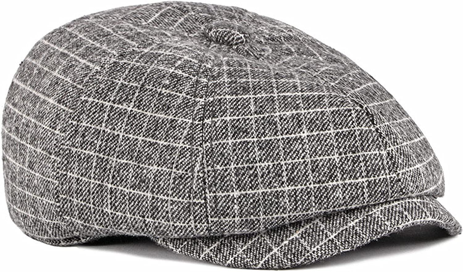 French Wool Newsboy Caps for Men Middle Old Aged Flat Top Ivy Beret Warm Ear Protection Octagonal Cap