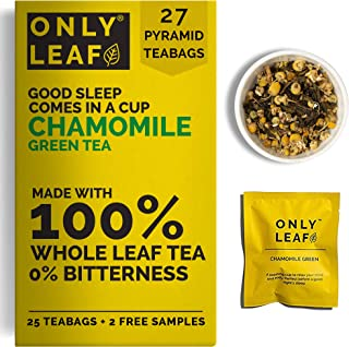ONLYLEAF Chamomile Green Tea For Stress Relief & Good Sleep, Made with 100% Whole Leaf & Natural Chamomile Flowers, 27 Pyr...