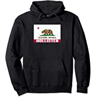 Hollister, California - Distressed CA Republic Flag Pullover Hoodie