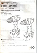 Sears Craftsman Cordless Drill-Driver, Owner's Manual Instructions, Model 315.115340, 315.115350, 3/8 inch, Variable Speed, Reversible