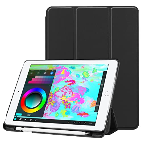 """iPad 9.7"""" Case with Apple Pencil Holder, EpicGadget Pencil Holder Case Cover with Sleep/Wake for 2018 / 2017 Apple iPad 9.7 inch- Slim, Light Weight, Stand, Magnet Closure, Smart (Black Case)"""
