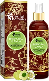 Oriental Botanics Bhringraj & Amla Oil for Hair - 200ml (No Mineral Oil, Silicon Or Paraben)