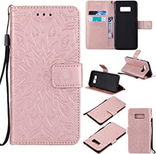 Cfrau Kickstand Wallet Case for Samsung Galaxy S8,Retro Mandala Sunflower PU Leather Magnetic Flip Folio Stand Soft Silicone Card Slots Wrist Strap Case with Black Stylus - Rose Gold