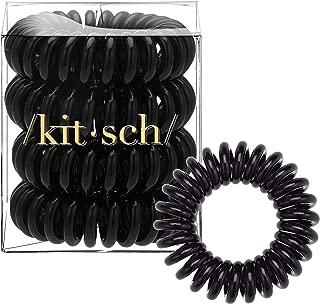 Kitsch Spiral Hair Ties, Coil Hair Ties, Phone Cord Hair Ties, Hair Coils - 4pcs, Black