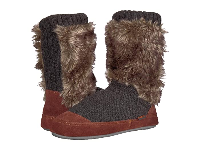 Acorn Kids  Slouch Boot (Toddler/Little Kid/Big Kid) (Charcoal Fur) Kids Shoes