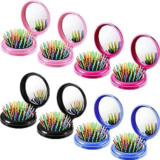 8 PCS Round Travel Hair Brush Mini Hair Comb with Make up Mirror Pocket Hair Brush Folding Hair Brush for Travel
