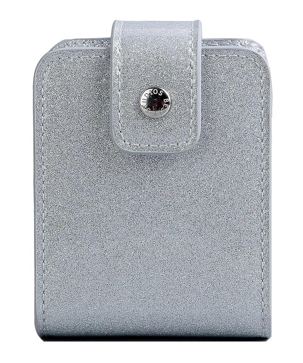 BESLY 女性用リップ化粧ポーチ リップを収納する ミニサイズ 携帯しやすい 人工製 銀色 PU革