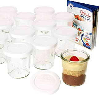 Set Vasetti 1//4/litri vasetti con 6/Coperchi in Vetro 6/Guarnizione e 12/mollette incluso gelier zauber ricettario di diamante dello zucchero