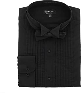 Wing Tip Collar Tuxedo Shirt with Convertible Cuffs and Bow Tie (Black)